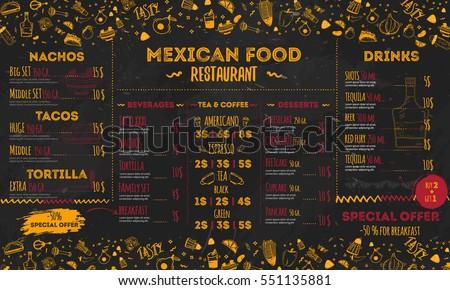 vetor stock de mexican food restaurant menu template design livre