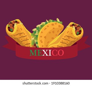mexican food restaurant poster with tacos and burritos vector illustration design