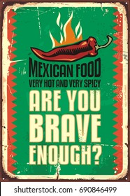 Mexican food restaurant sign with hot and spicy chili pepper. Mexican cuisine promotional retro poster design.