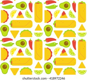Mexican food seamless pattern. Tacos, burritos, nachos and traditional food ingredients. Flat geometric cartoon style.