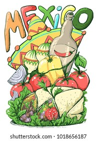 Mexican Food Sketch, Cinco de Mayo celebration banner, festive illustration or flyer. Inscription Mexico with maraca, sombrero or mexican hat. Mexican Food like tomato, peper and buritos.