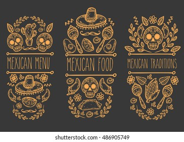 Mexican food sketch doodle collection, vector hand drawn label elements. Skull, sugar skull, sombrero, avocado, chili, cactus, Mexican food, tacos, burrito, moustaches. Native Mexican food
