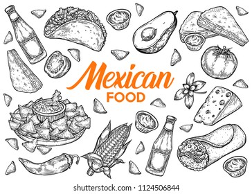Mexican food traditional vector hand drawn illustration set, menu with nachos, burrito, fajitas, guacomole, avocado, chili pepper, salsa and other ingredients.