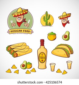 Mexican Food Vector Illustrations Set with Logo Template for Restaurant Menu, Cafe, Meal Delivery. Smiling Man in Traditional Sombrero, Tacos, Burritos, Tequila, etc. Bright Colors. Isolated.