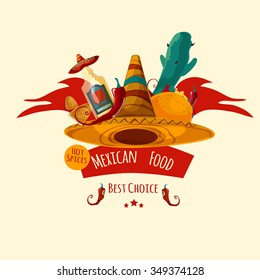 Mexican food vector label isolated
