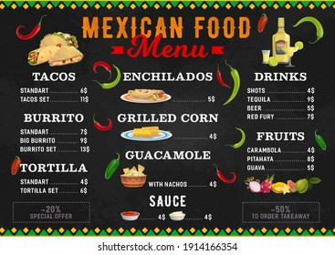 Mexican food vector menu meals tacos, burrito, tortilla and enchiladas with grilled corn and guacamole with nachos. Latin cuisine dishes sauce, tequila, beer and fruits. Cartoon menu of Mexico