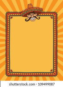 Mexican frame with man in sombrero. Vector version.