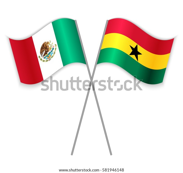 Mexican and Ghanaian crossed flags. Mexico combined with Ghana isolated on white. Language learning, international business or travel concept.
