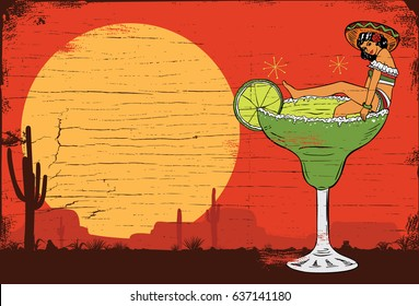 A Mexican girl in a margarita cocktail, vector