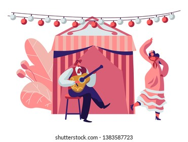 Mexican Girl in Traditional Dress Dancing at Music Playing with Guitarist in Sombrero during Cinco De Mayo Festival near Decorated Fairy Tent. Latin Folk Celebration. Cartoon Flat Vector Illustration