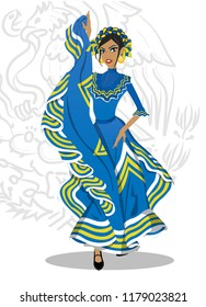 Mexican girl with typical Jalisco dress, representing Mexican national holidays. Articulated doll