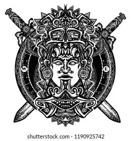 Mexican god warrior and crossed swords tattoo. Ancient aztec totem