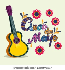 mexican guitar with flowers to mexican event