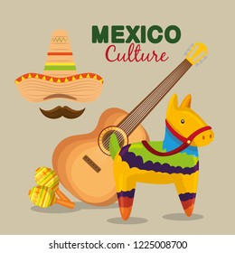 mexican guitar with hat and maracas to event