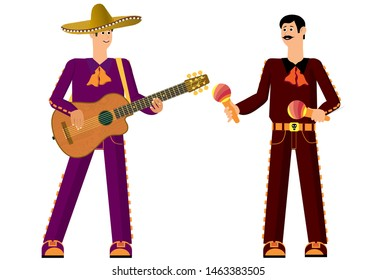 Mexican with a guitar. Ready to sing and have fun. Holiday fun and joy. Traditional music. Vector illustration.