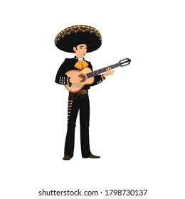 Mexican guitarist mariachi playing on guitar isolated musical band player. Vector spanish musician in sombrero hat and traditional costume. Cinco de mayo carnival musician with musical instrument