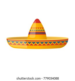 Mexican hat funny sombrero, traditional hat and clothes. Carnival masquerade, festival in Mexico. A holiday, vacation with costumes, music, culture and traditions. Vector illustration isolated.
