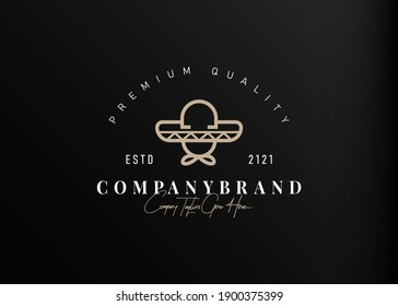 Mexican hat logo design. Vector illustration of simple mexican hat monoline design. Vintage logo design vector line icon template