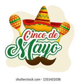 mexican hat with maracas and mustache to event