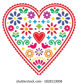 Mexican heart folk art vector design, Valentine's Day or wedding invitation greeting card with birds and flowers. Happy colorful heart background inspired by traditional art from Mexico