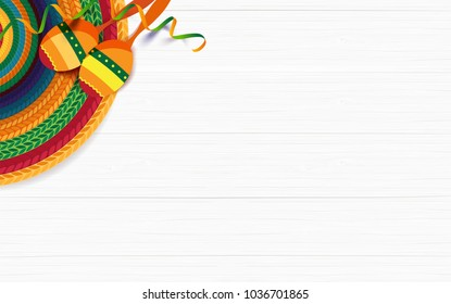 Mexican holiday background. Sombrero, macaras on white wooden background. Top view. Vector illustration