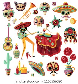 Mexican holiday day of dead set, ethnic music and dance, decorative masks, candles, flowers, isolated vector illustration