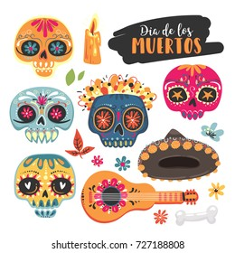 "Mexican holiday ""Day of the Dead"". Set of sugar skull, flowers, lettering ""Dia de los Muertos"". Vector illustrations"