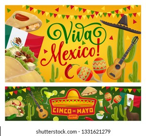 Mexican holiday sombrero, guitar and cactus vector design of Cinco de Mayo fiesta party greeting cards. Mexico flag, tequila margarita and chilli pepper, maracas, tacos, avocado guacamole and alpaca