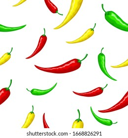 Mexican hot red, green and yellow peppers. Seamless ornament, pattern, background and template. Vector square orientation white background. For wrapping paper, background, texture
