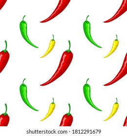 Mexican hot red, green and yellow peppers. Seamless ornament, pattern, background and template. Vector square orientation white background. For wrapping paper, background, texture, cooking, print