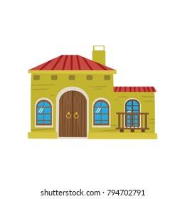Mexican house facade cartoon vector Illustration