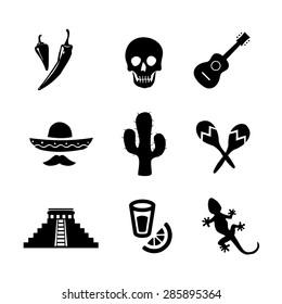 Mexican icon set vector