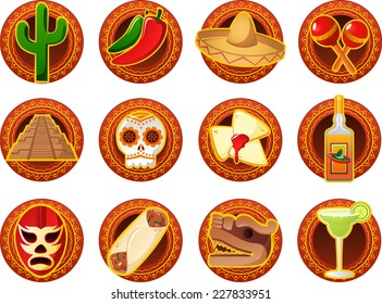 Mexican icon set vector illustrations