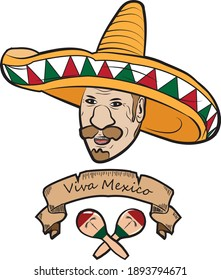 Mexican independence day. Cartoon sticker.