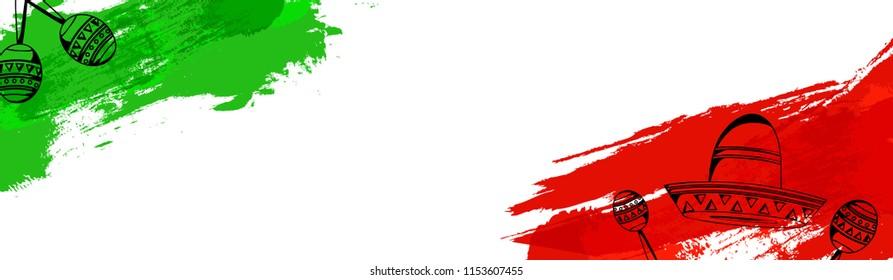 Mexican Independence Day celebration grunge background banner design.