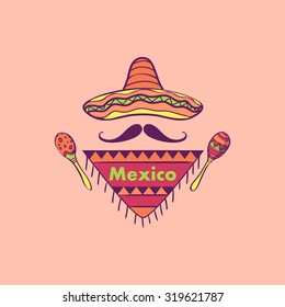 Mexican label and emblem- sombrero, maracas, mustaches. Isolated national elements made in vector.