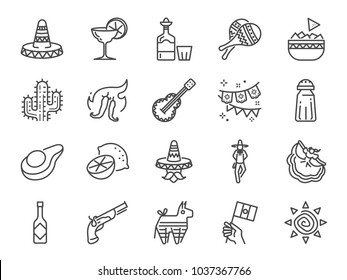 Mexican line icon set. Included the icons as maracas, pinata, traditional hat, nacho, spicy sauce, cactus, flamenco dance, liquor and more.