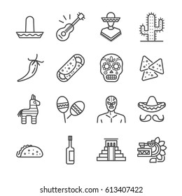 Mexican line icon set. Included the icons as maracas, nachos, taco, lucha libre, mask, pinata and more.