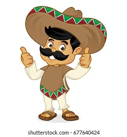Mexican man cartoon giving thumbs up isolated in white background