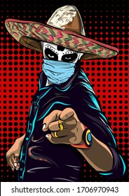 Mexican man in hat and medical mask. Day of the Dead. Mexican skeleton