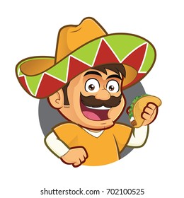 Mexican man holding a taco in round frame