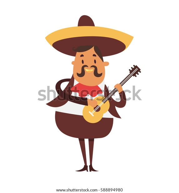 Mexican man playing guitar and singing. Mariachi vector illustration on white background.