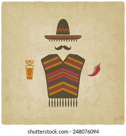 Mexican man in sombrero with tequila and chili pepper old background - vector illustration. eps 10