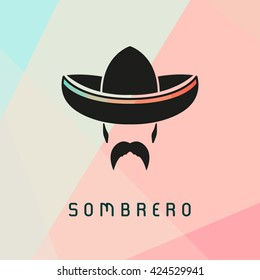 Mexican man wearing sombrero. Hispanic man with a mustache. Vector illustration.