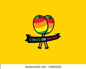 Mexican Maracas with Cinco De Mayo Banner.