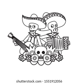mexican mariachis skulls playing guitar and accordion vector illustration design
