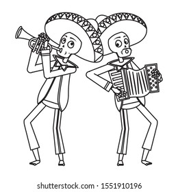 mexican mariachis skulls playing trumpet and accordion vector illustration design