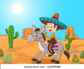 Mexican men driving a donkey in the desert background