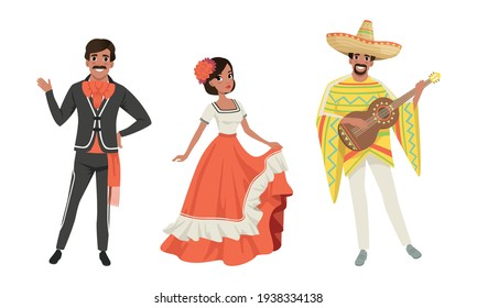 Mexican Men and Woman in Traditional National Clothes Set, Dancers and Musician Characters Cartoon Vector Illustration