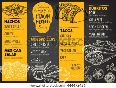 mexican menu placemat food restaurant menu のベクター画像素材
